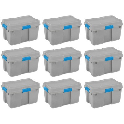 Sterilite 18336A03 30 Gallon Heavy Duty Plastic Storage Container Box with Lid and Latches, Grey/Blue (9 Pack)