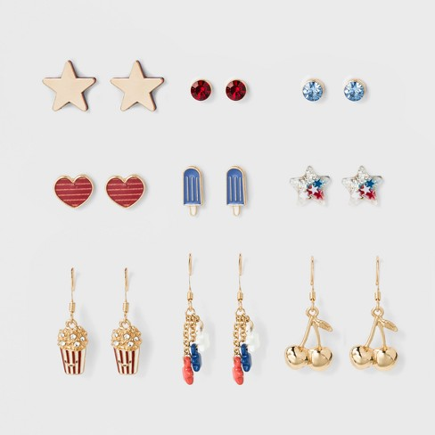 Girls' 9pk Americana Dangle Earrings - Cat & Jack™ One Size - image 1 of 2
