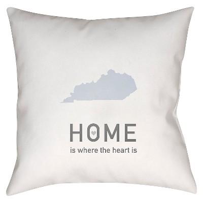 White Homebound Kentucky Throw Pillow 18 x18  - Surya