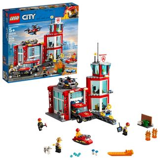 LEGO City Fire Station Fire Emergency Vehicle Toy and Toy Garage Building Kit 60215