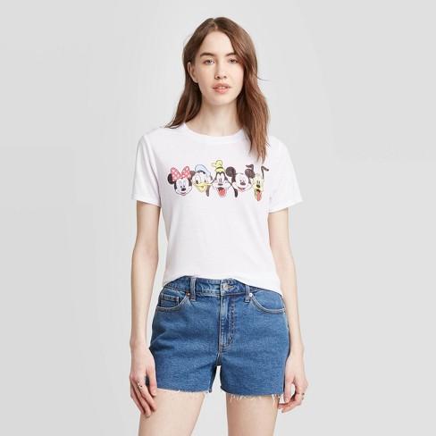 Women's Disney Mickey and Friends Short Sleeve Graphic T-Shirt (Juniors') - White - image 1 of 2