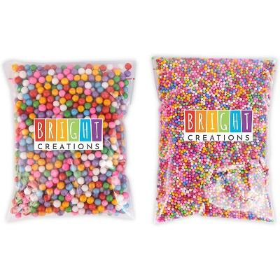 Bright Creations Rainbow Foam Beads for Slime, Art, Crafts Supplies (0.3 oz, 6 Pack, 75,000 Pieces)