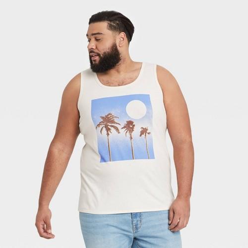 Men S Tall Printed Regular Fit U Neck Tank Top Goodfellow Co