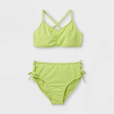 Girls' Ribbed 2pc Bikini Set - art class™ Lime Green