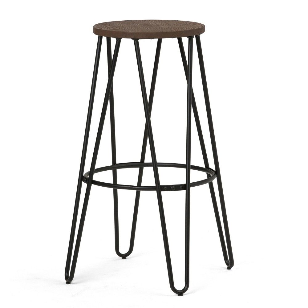 Kendall 30 Metal Bar Stool with Wood Black/Cocoa Brown - Wyndenhall