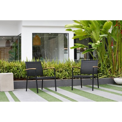 Veronica 2pk Deluxe Patio Stacking Sofa Sling Chairs - Black - Amazonia