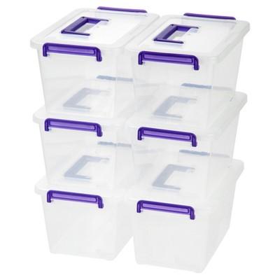 IRIS 6pk Medium Deep Latching Plastic Storage Bin