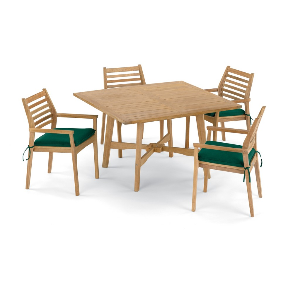 5pc Wexford 48 Dining Table & Mera Stacking Armchair Set Hunter Green Cushions - Oxford Garden