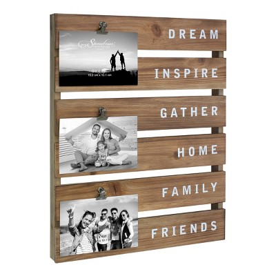 """18"""" x 14"""" Inspirational Wood Clip Collage 4x6 Photo Frame Brown - Stonebriar Collection"""