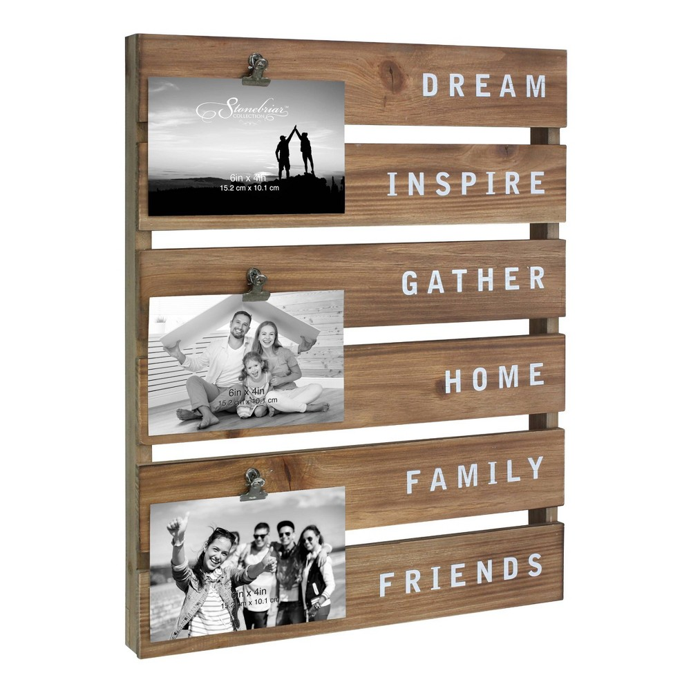Image of Inspirational Wood Picture Collage Frame Wall Art Brown - Stonebriar Collection
