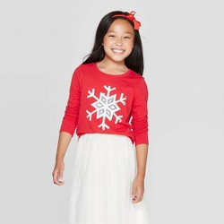 Girls' Long Sleeve Flip Sequin Snowflake T-Shirt - Cat & Jack™ Red