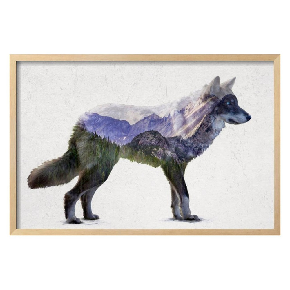 Rocky Mountain Grey Wolf By Davies Babies Framed Wall Art Poster Print 31x21 - Art.com, Multicolored