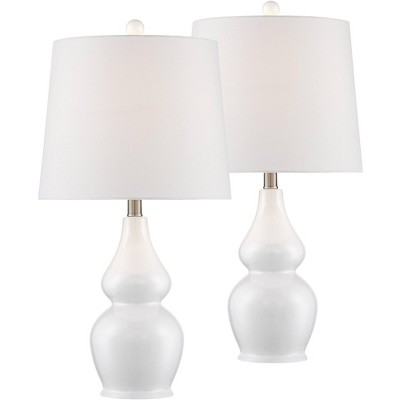 360 Lighting Modern Table Lamps Set of 2 Ceramic White Double Gourd Drum Shade for Living Room Family Bedroom Bedside Nightstand