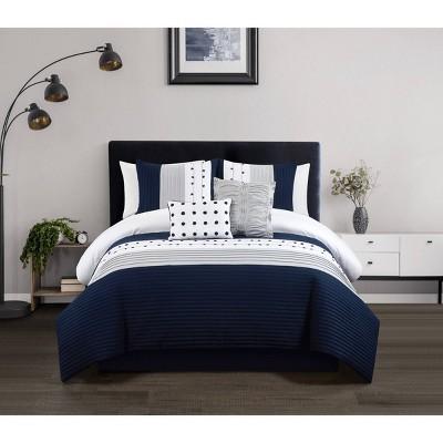 Queen 5pc Lani Comforter Set Navy - Chic Home Design