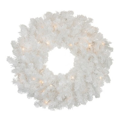 "Northlight 24"" Prelit Snow White Artificial Christmas Wreath - Clear Lights"