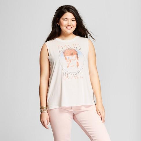a8ffc585fd Women s David Bowie Plus Size Scoop Neck Graphic Tank Top (Juniors ) White