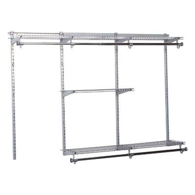 Rubbermaid Configurations 3-6 Feet Expandable Hanging and Shelf Space Custom DIY Closet Organizer Kit, Titanium (2 Pack)