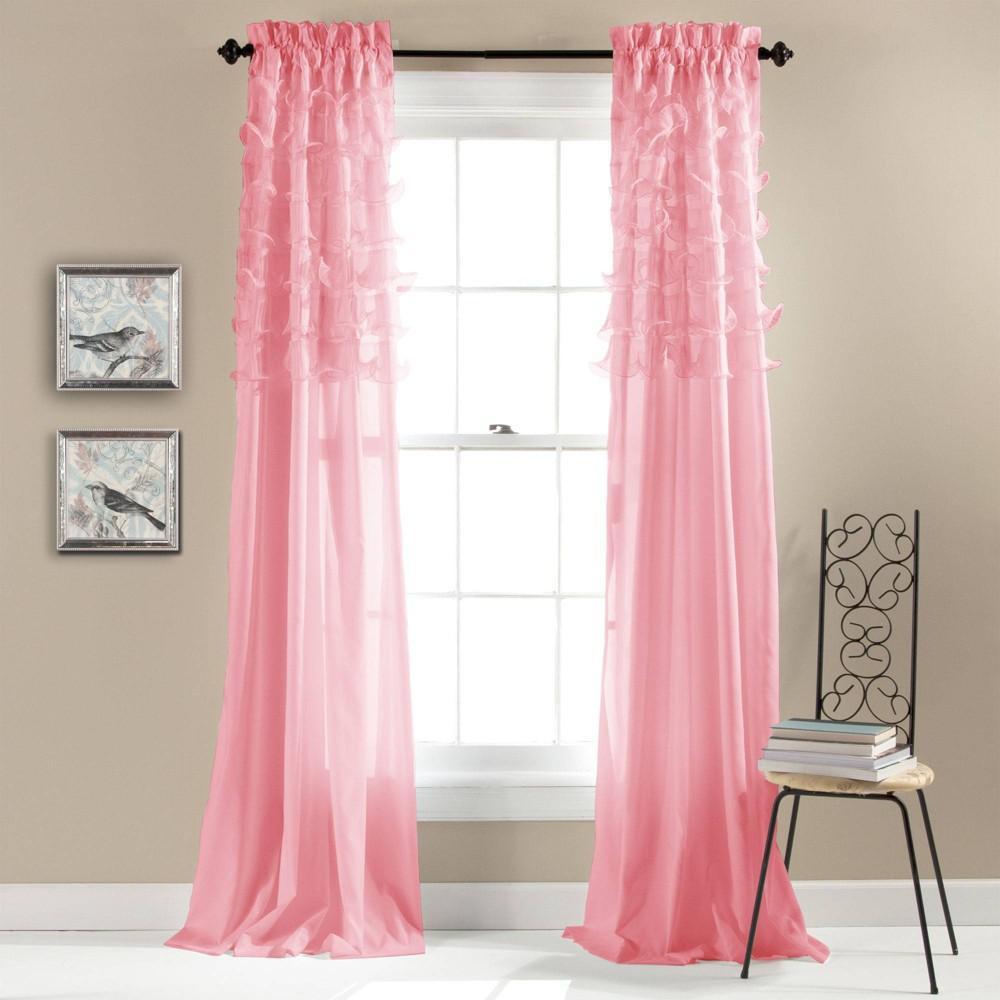 "Set of 2 (84""x54"") Avery Light Filtering Window Curtain Panels Pink - Lush Décor"