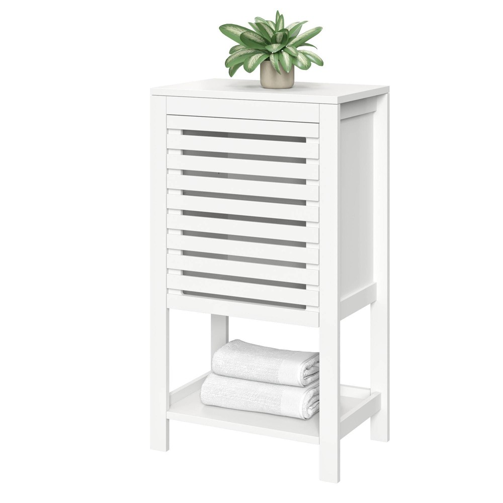 Image of Slatted Single Door Cabinet with Open Shelf White