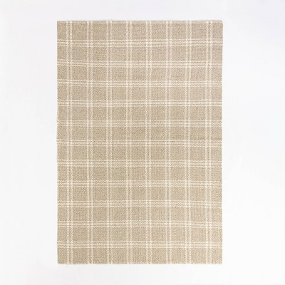 7'x10' Cottonwood Hand Woven Plaid Wool/Cotton Area Rug Neutral - Threshold™ designed with Studio McGee