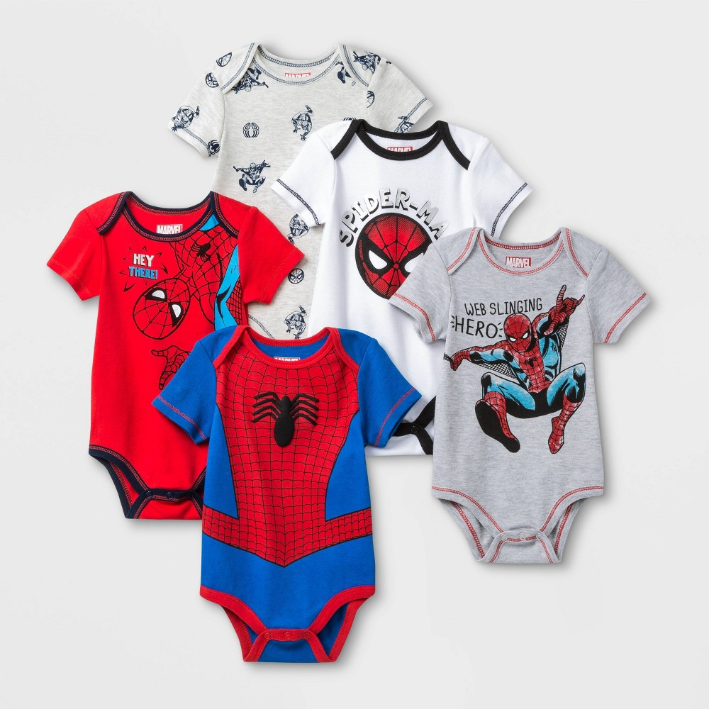 Image of Baby Boys' 5pk Marvel Spider-Man Bodysuit Set - 0-3M, Boy's, Blue/Gray/Red