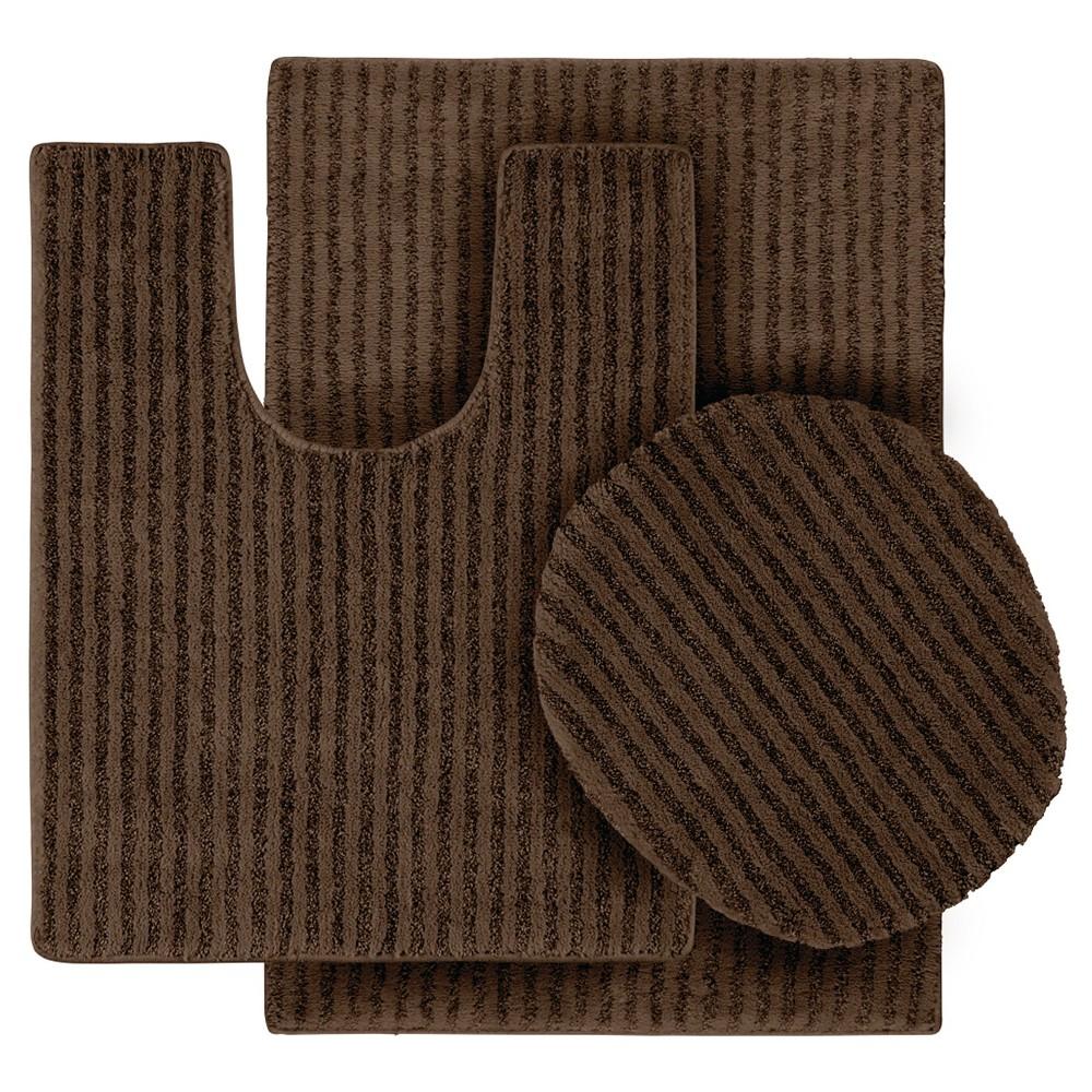 Garland 3 Piece Sheridan Plush Washable Nylon Bath Rug Set - Chocolate (Brown)