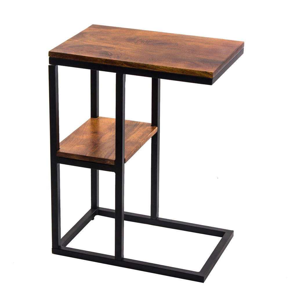 Image of Iron Framed Mango Wood Accent Table Caramel - The Urban Port