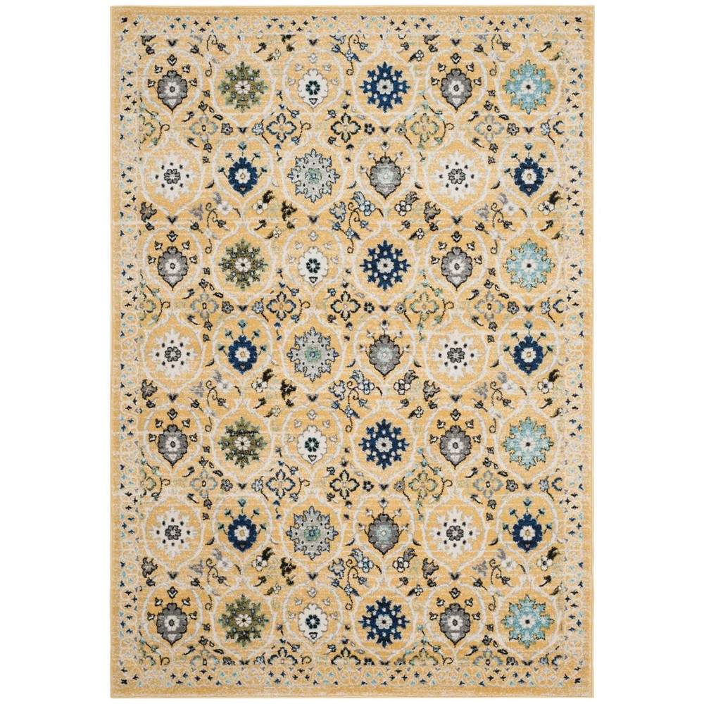 6'7X9' Loomed Floral Area Rug Gold - Safavieh, Gold/Ivory
