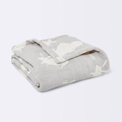 Muslin Baby Blanket Bunnies - Cloud Island™ Gray