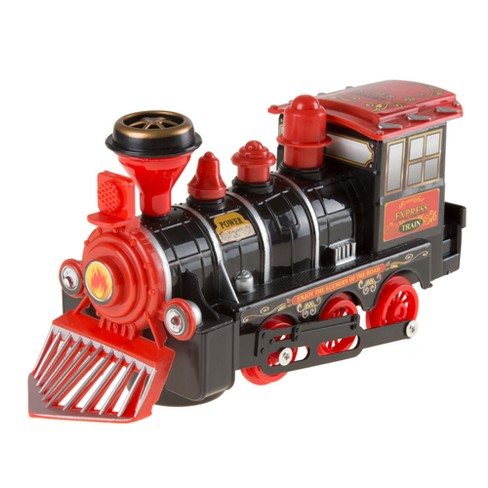 toy train locomotive engine car with battery powered lights sounds