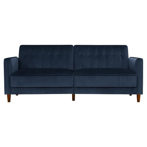 Tufted Futon Blue Velvet Room Joy