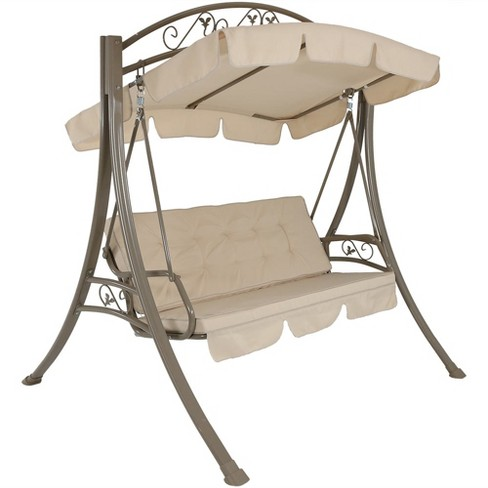 Deluxe 3 Seat Steel Frame Patio Swing With Cushions And Canopy Beige Sunnydaze Decor Target