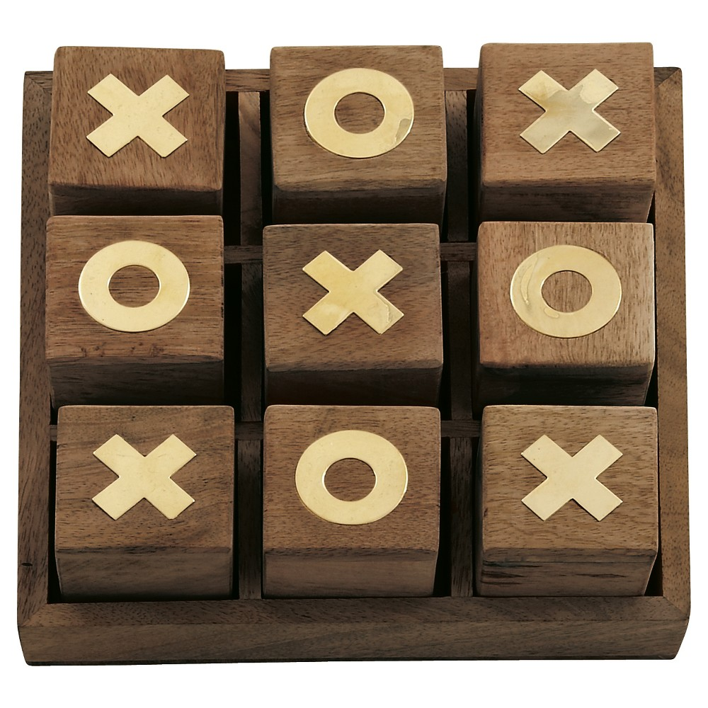 Updated Traditional Mahogany Wooden Tic-Tac-Toe Box (3) - Olivia & May, Multi-Colored