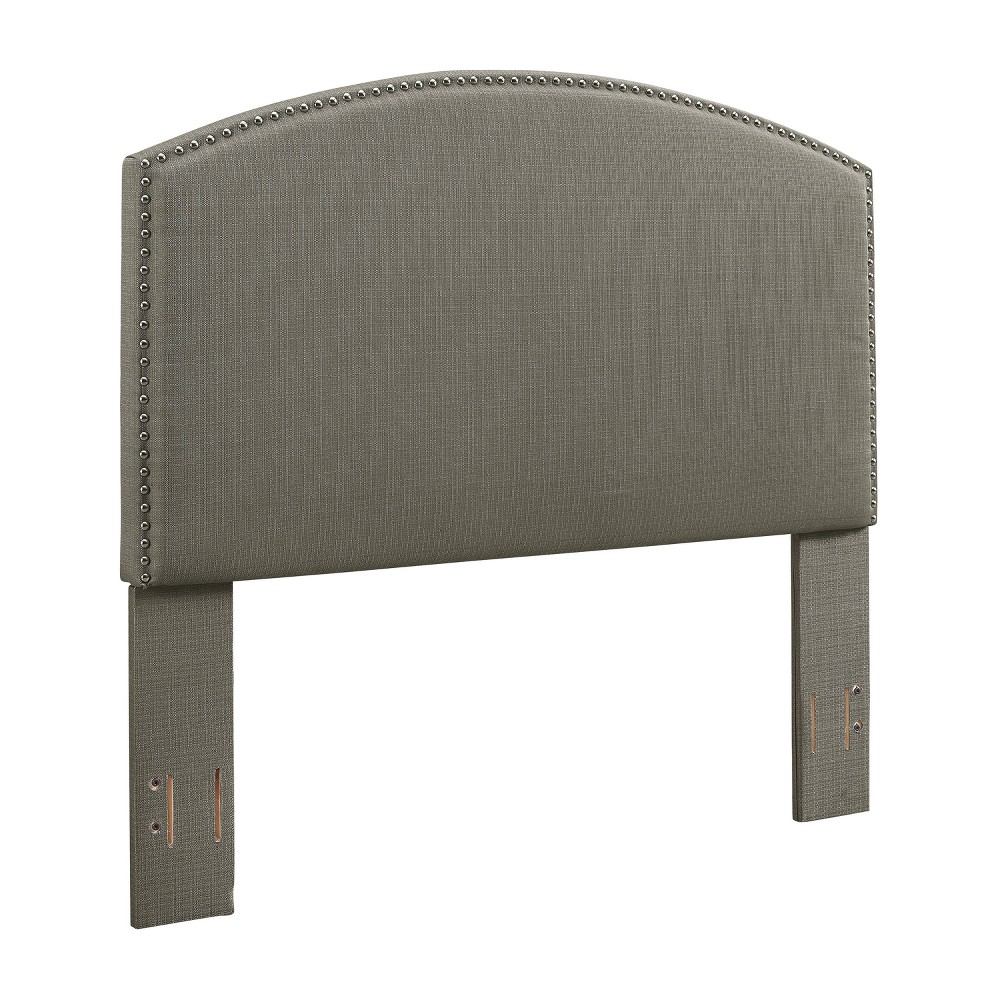 Cassie Curved Upholstered King/Cal King Adult Headboard Linen Shadow Gray - Crosley