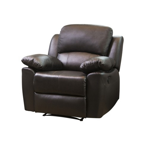 Marsala Leather Reclining Armchair Brown Abbyson Living Target