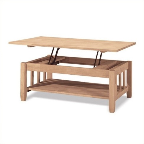 Wood Unfinished Mission Coffee Table With Lift Top In Brown Pemberly Row