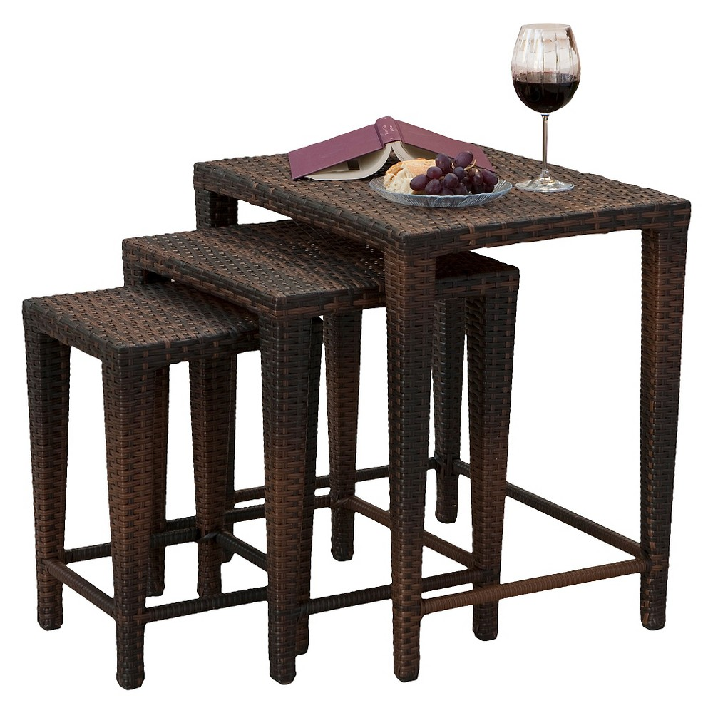 Malcolm Set Of 3 Wicker Nested Side Tables Brown Christopher Knight Home