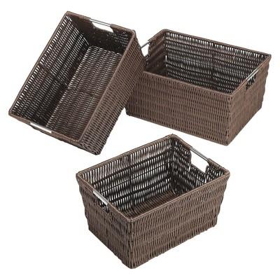 Whitmor Nesting Cube Storage Basket Set of 3 - Brown
