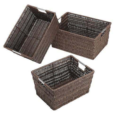 Whitmor Nesting Cube Storage Basket Set of 3 - Brown - image 1 of 1