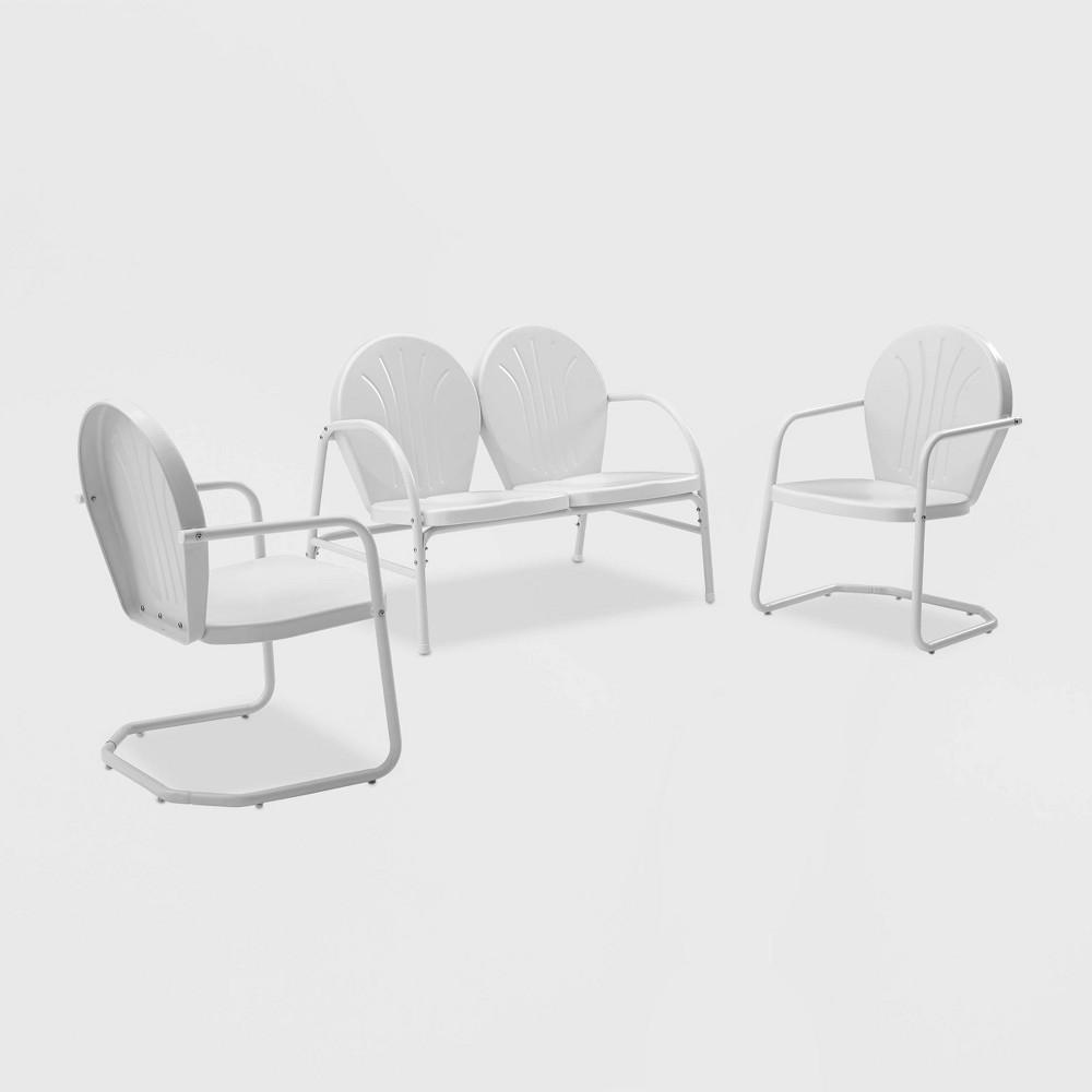 Griffith 3pc Metal Outdoor Patio Conversation Set - White - Crosley