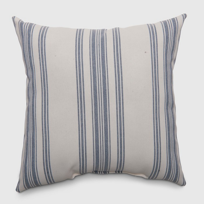Square Ticking Stripe Outdoor Pillow Navy - Threshold™ - image 1 of 3