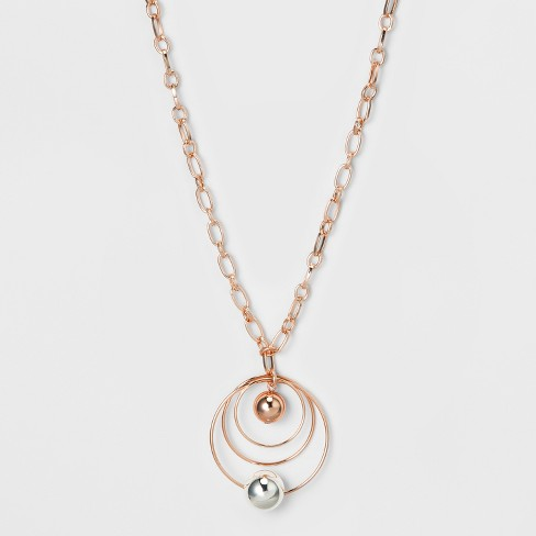 Wire Circles and Beads Long Necklace - A New Day™ Silver/Rose Gold - image 1 of 3
