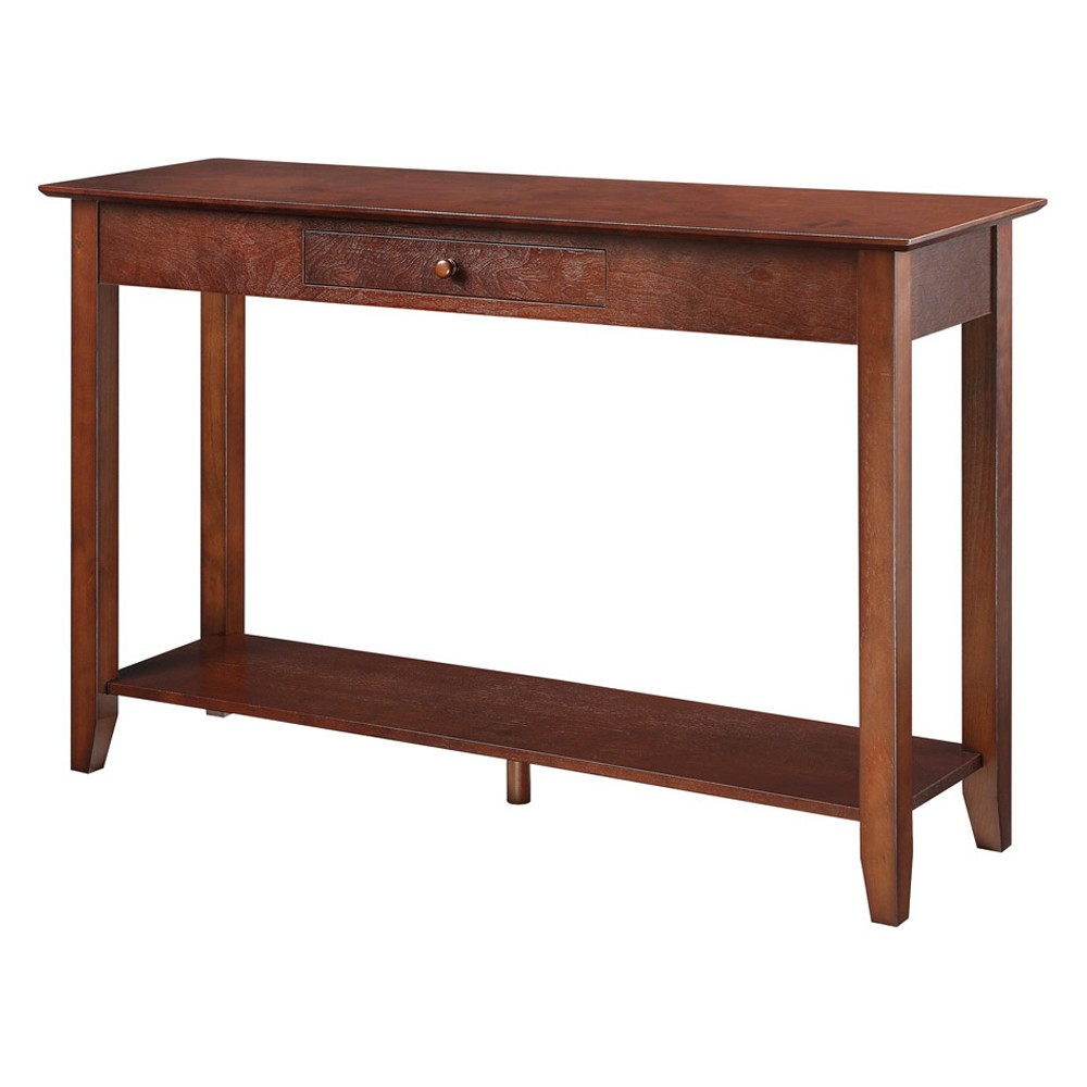 American Heritage Console Table with Drawer Espresso (Brown) - Convenience Concepts