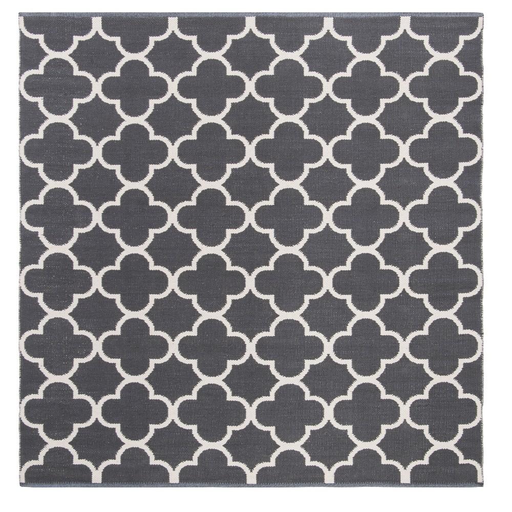 Dark Gray/Ivory Quatrefoil Design Woven Square Area Rug 6'X6' - Safavieh
