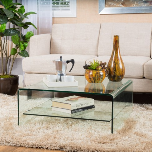 Atticus Tempered Glass Coffee Table Clear Christopher Knight Home
