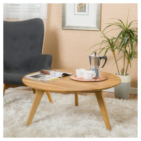 Round Wood Coffee Table.Canton Round Acacia Wood Coffee Table Natural Christopher Knight Home