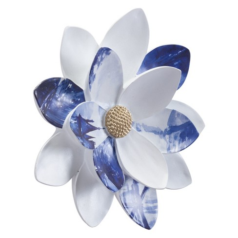 "ZM Home 11"" Floral Wall Sculpture White/Blue - image 1 of 3"