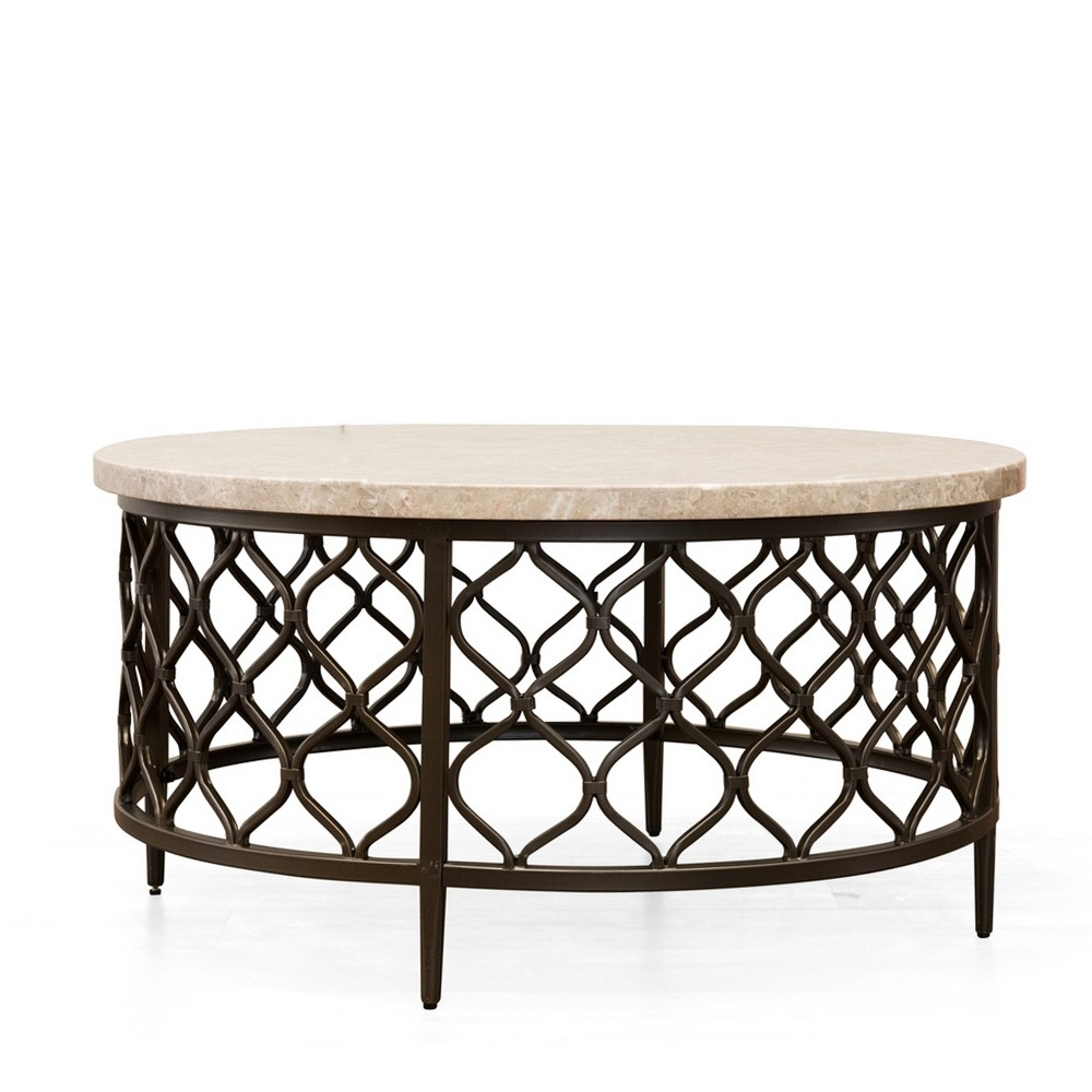 Roland Cocktail Table Faux Marble and Metal - Steve Silver