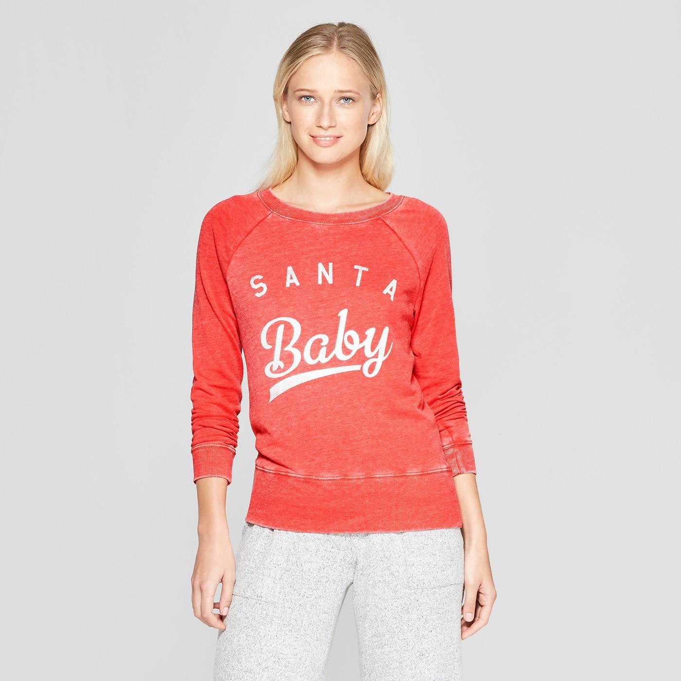 Grayson Threads Women's Holiday Santa Baby Crew Sleep Sweatshirt - Red - image 1 of 2