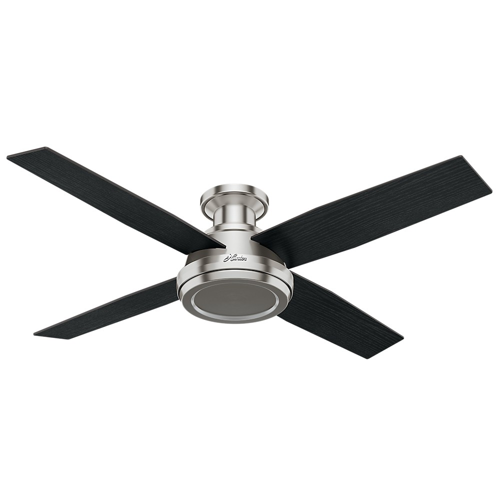 """Image of """"52"""""""" Dempsey Low Profile Ceiling Fan with Handheld Remote Brushed Nickel - Hunter Fan"""""""